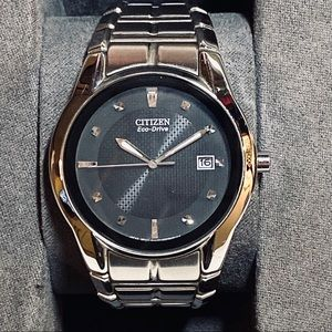 CITIZEN 🎁 Men's Eco Drive Silver Black Watch